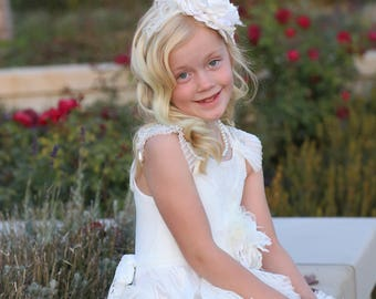 White and ivory couture headband, over the top bow, ott bow, baby headband, blessing headband, flower headband,