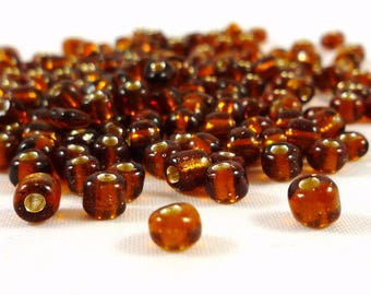 30 grams of seed beads, Topaz, 3 / 4mm, (roc4)