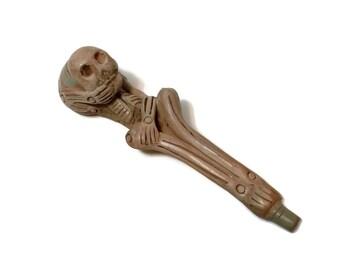 Vintage Dia de los Muertos Day of the Dead skeleton pottery pipe, Mexico, hand crafted, halloween, creepy decor, goth