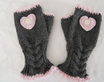 Hand knitted thick Aran Grey and pink cabled fingerless gloves by Liz