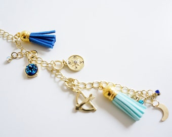 Follow Your Arrow Traveler's Notebook Keychain Charm, Blue and Gold, Compass and Tassels Planner Charm Keychain