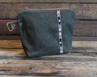 Waxed Canvas, Travel Pouch, Dopp Kit, Pencil Pouch, Makeup Case, Zipper, Bag