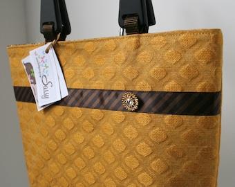 Gold and Brown Fabric Purse, Handmade Fabric Handbag, Veronica Collection/Eliza Bag