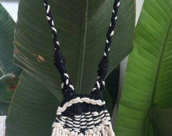 Black and White Woven Necklace