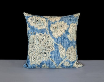 Blue, Beige Floral Pillow Cover