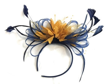 Navy Blue and Mustard Yellow Fascinator on Headband Alice Band UK Wedding Ascot Races Derby