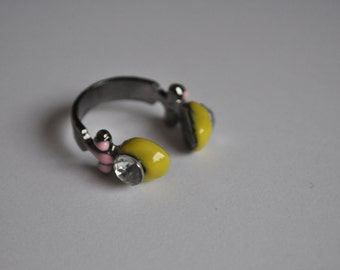 Headphone Yellow Adjustable Ring CLOSING DOWN SALE