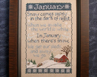 JANUARY SAMPLER; Downloadable Pattern for Cross Stitch, PDF file