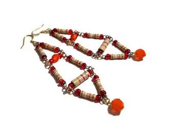 Upcycled Jewelry, Long Statement Earrings, Boho Dangle Earrings,  Repurposed Resistors in Red, Orange, Tan