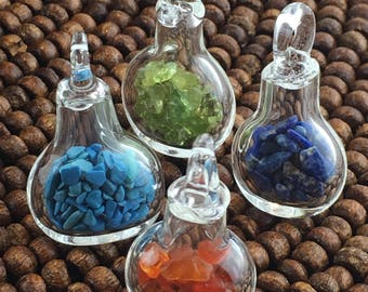 Tiny Glass Bottles with Gemstone Chips