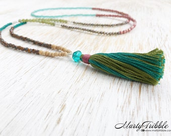 Serpentine Necklace, Mala Necklace, Beaded Necklace, Long Necklace, Tassel Necklace, Boho Necklace, Colorful Beads, Petite Necklace Bohemian