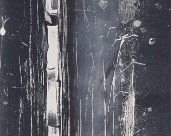 "Original image, Monotype ""Nightlight"", sheet size 40 x 30 cm, Motive size 20 x 30 cm, trees, forest, abstract landscape, night"