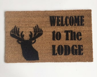Welcome to the Lodge, cabin life, Deer head silhouette doormat