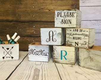Alternative guest book pen holder- guest book pen cup- white washed boxes wedding decor- rustic wedding decor- wedding table decorations