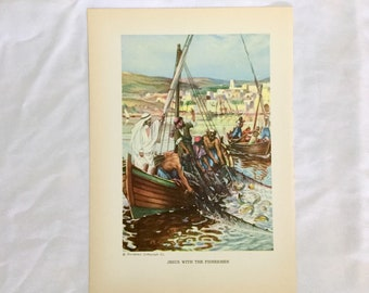 Jesus With the Fishermen Art Print Clive Uptton Providence Lithograph Co 1940