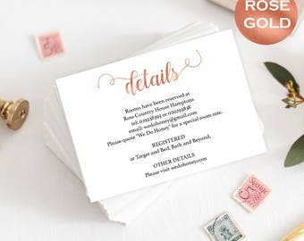 Wedding Details Card - Details Card Template - Cards Information Template - Rose Gold Wedding - Downloadable wedding #WDH657DT23