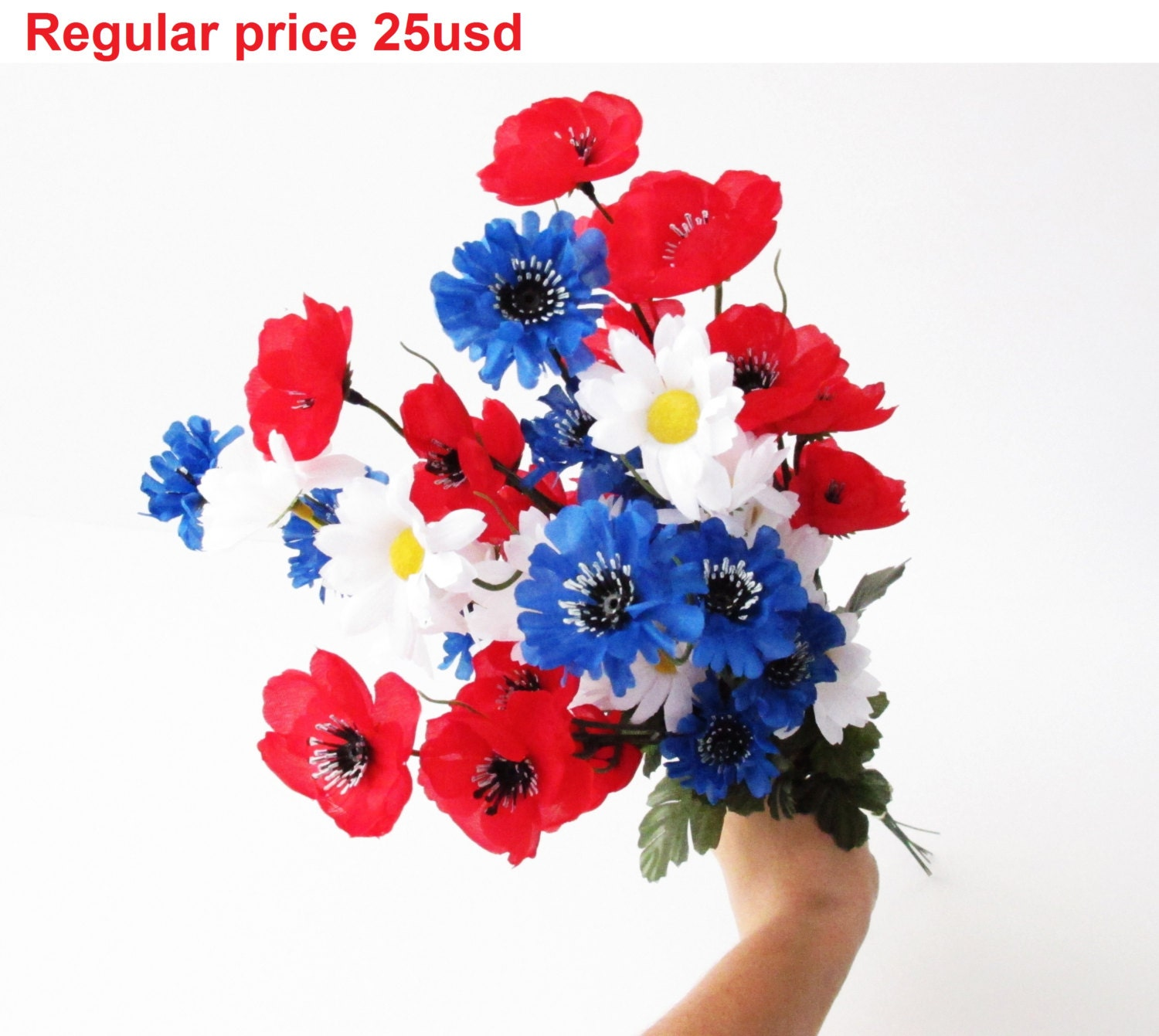 Grand Sale 9 Branches Silk Poppies Daisies Cornflowers Bouquet