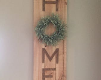 Wooden Home Sign with Wreath Farmhouse Rustic Decor