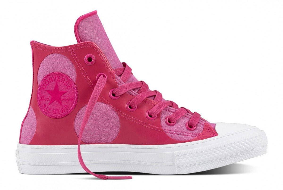 12f0733c5383 Pink Converse High Tops Leather Chuck Taylor II Custom Fuchsia Polka Dot w   Swarovski Crystal Rhinestone Bling Wedding All Star Sneaker Shoe