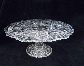 Vintage Imperial Glass Pedestal Footed Cake Stand Crystal Pressed Glass I Over G Mark