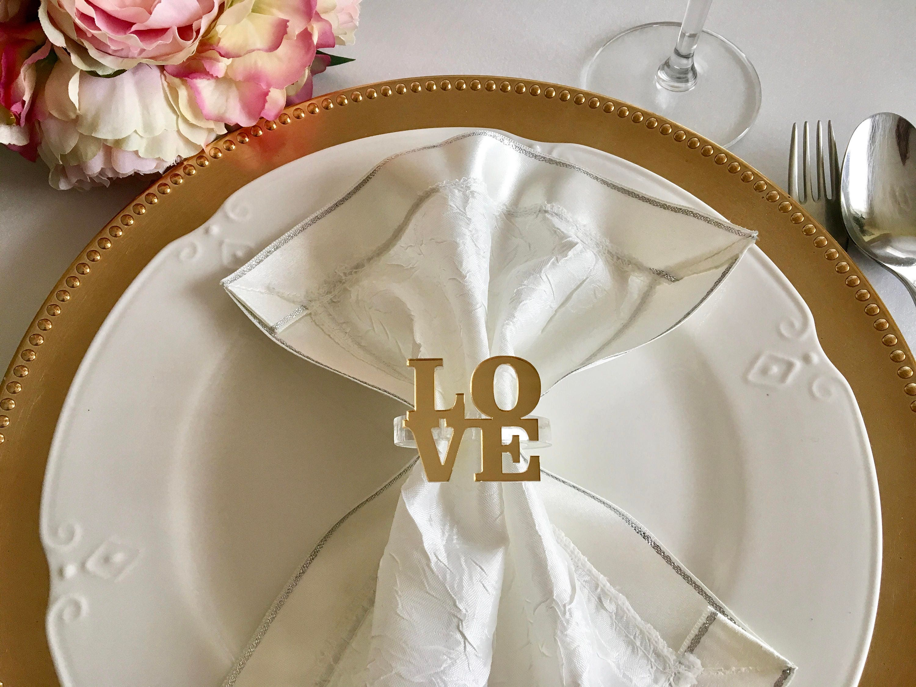 Love napkin ring holders Personalized wedding napkin rings