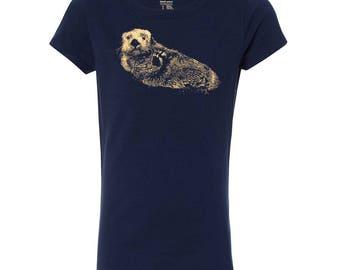 Girl's Sea Otter Princess T Shirt, 10% Donated to Animal Causes, Kid's Wildlife Tee