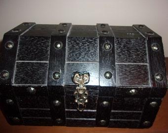 Vintage wood black/metal jewelry box, bill box, medicine storage box, etc.