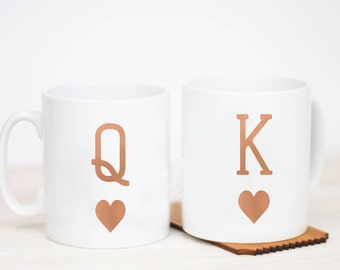 King And Queen Mug   Personalised   Royal   Handprinted   Anniversary   Wedding   Couples   Gift   For Her   For Him