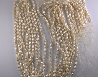 Rare strands of Vintage Japanese Biwa freshwater pearls from late 1970 6mm x 4mm average Cream Pearlescent Luster