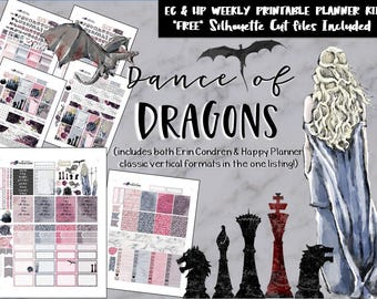 Game of Thrones Weekly kit / EC / HP / Erin Condren / Happy Planner / Printable Planner Stickers / DIY stickers / Silhouette Cut Files