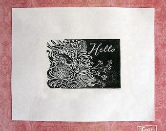 Hello - Floral Linocut Art Print