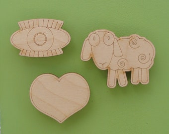 I love you, eye, heart, ewe, sheep, magnets, gift for her, wood, engraved, Valentine, love, cute gift, USA