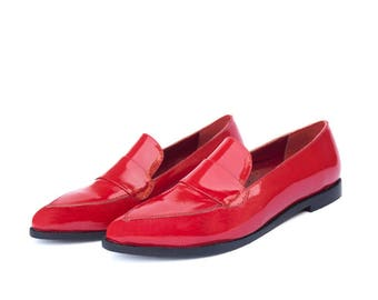 Red Patent leather Moccasin Shoe