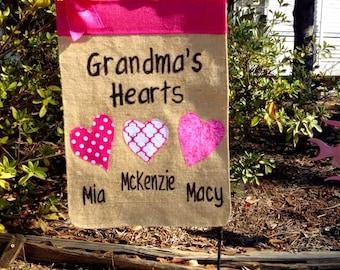 Mothers Day Garden Flag, Grandma's Hearts Flag, Heart Flag, Mimi's Garden Flag, Gift for Grandmothe, Birthday Gift For Moms