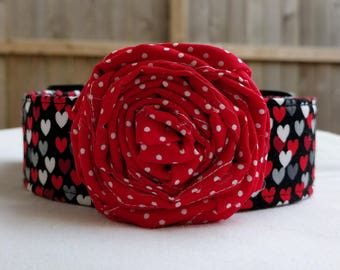 Tiny Hearts-Flower Collar-Black Red Grey-Adjustable Buckle-Martingale Dog Collar-Small-Large Breed Dog-1 inch 1.5 -2 inch width