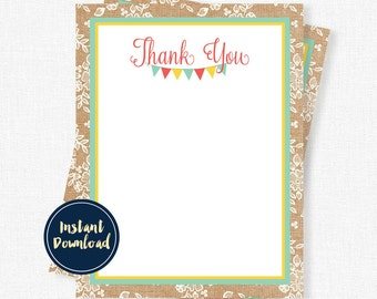 Burlap Thank You Cards, Birthday Thank You Cards, First Birthday Thank You, Girl Thank You Cards, Printable INSTANT DOWNLOAD