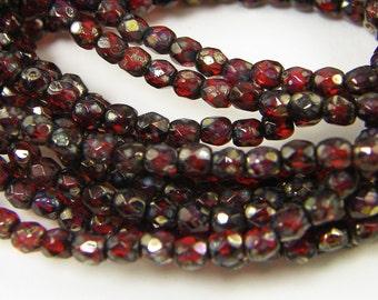 3mm Dark Red Picasso Beads, Dark Red Faceted Round Beads, 3mm Garnet Glass Beads, Burgundy Fire Polish Czech Glass Beads |R7-3| 1x50