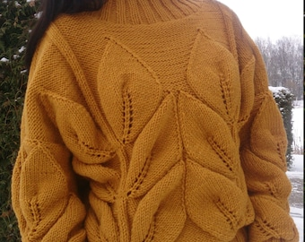 Knitted Sweater Pullover, Mustard Sweater, Cable Knit Sweater, Knit Jumper, Chunky Knit Pullover, Bulky Sweater Hand Knit , Leaves Sweater