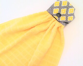 Yellow Kitchen Towel, Hanging Towel, Yellow And Gray, Yellow Decor, Button  Top Towel, Tea Towel, Kitchen Tie Towel