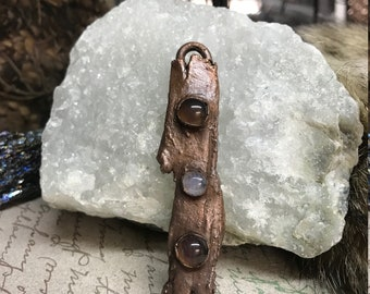 Hemlock Tree Bark & Moonstone Amulet Necklace | Real Nature Necklace