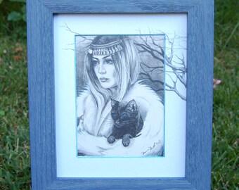 Original Pencil Drawing Witch Art Print Black Cat Art Print Halloween Art Gothic Art Conjuring