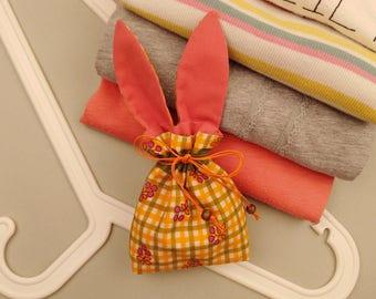 Orange Lavender Pouch Rustic Style Cotton Lavender Sachet Bunny Scented Sachet Rabbit Lavender Bag Moth Repellent Cute Easter Gift for Mom