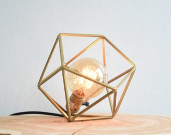 "The ""Mini"" Mercedes Geometric Table Lamp, GOLD Table Lamp with Edison Globe Bulb"