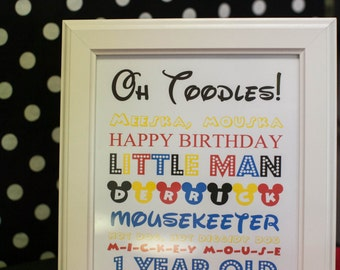 Mickey themed birthday sign
