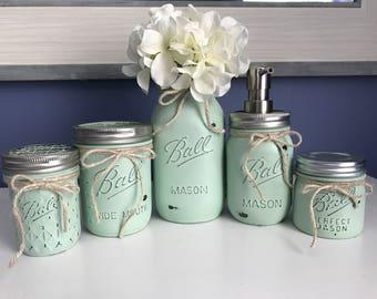 Sea Green Mason Jar Bathroom Set