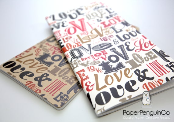 Midori Insert Love Words Travelers Notebook Regular A5 Wide B6 Personal A6 Pocket Field Notes Passport Mini/Grid Dots Lined/Bullet Journal