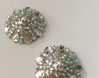 Crystal pasties on silver base, round edges