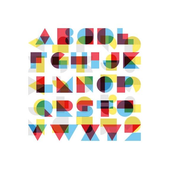 Razorblade screen alphabet print