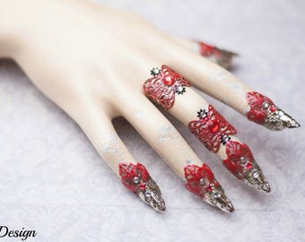 Fantasy Claw Set (red/silver lace/red and clear rhinestones)
