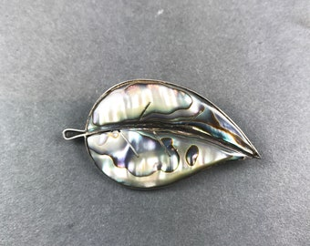 Vintage Taxco Sterling Silver Abalone Leaf Pin Brooch